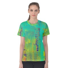Abstract in Turquoise, Gold, and Copper Women s Cotton Tees
