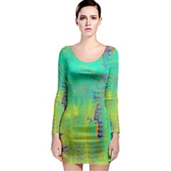 Abstract in Turquoise, Gold, and Copper Long Sleeve Bodycon Dresses
