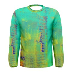 Abstract in Turquoise, Gold, and Copper Men s Long Sleeve T-shirts