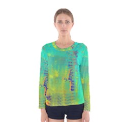 Abstract in Turquoise, Gold, and Copper Women s Long Sleeve T-shirts