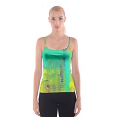 Abstract In Turquoise, Gold, And Copper Spaghetti Strap Tops