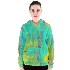 Abstract in Turquoise, Gold, and Copper Women s Zipper Hoodies