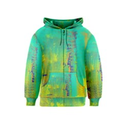 Abstract In Turquoise, Gold, And Copper Kids Zipper Hoodies