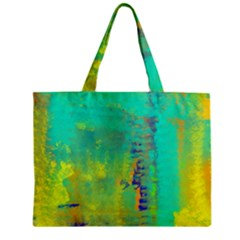 Abstract in Turquoise, Gold, and Copper Zipper Tiny Tote Bags