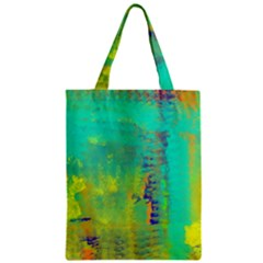 Abstract in Turquoise, Gold, and Copper Zipper Classic Tote Bags