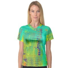Abstract in Turquoise, Gold, and Copper Women s V-Neck Sport Mesh Tee