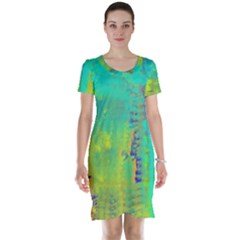 Abstract In Turquoise, Gold, And Copper Short Sleeve Nightdresses