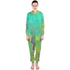 Abstract in Turquoise, Gold, and Copper Hooded Jumpsuit (Ladies)