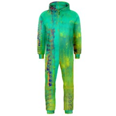 Abstract in Turquoise, Gold, and Copper Hooded Jumpsuit (Men)