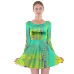 Abstract in Turquoise, Gold, and Copper Long Sleeve Skater Dress