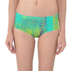 Abstract In Turquoise, Gold, And Copper Mid Waist Bikini Bottoms