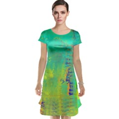Abstract in Turquoise, Gold, and Copper Cap Sleeve Nightdresses