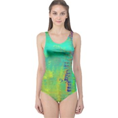 Abstract In Turquoise, Gold, And Copper Women s One Piece Swimsuits