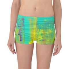 Abstract in Turquoise, Gold, and Copper Reversible Boyleg Bikini Bottoms