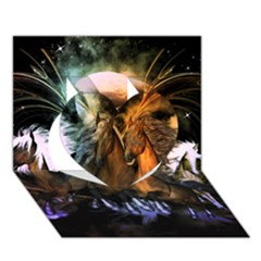 Wonderful Horses In The Universe Heart 3D Greeting Card (7x5)