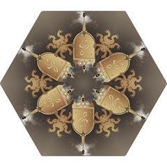 Music, Clef On A Shield With Liions And Water Splash Mini Folding Umbrellas