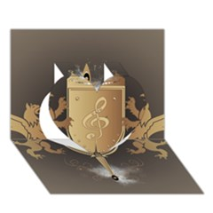 Music, Clef On A Shield With Liions And Water Splash Heart 3d Greeting Card (7x5)