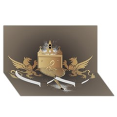Music, Clef On A Shield With Liions And Water Splash Twin Heart Bottom 3d Greeting Card (8x4)