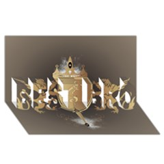 Music, Clef On A Shield With Liions And Water Splash BEST BRO 3D Greeting Card (8x4)