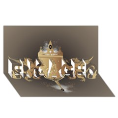Music, Clef On A Shield With Liions And Water Splash ENGAGED 3D Greeting Card (8x4)