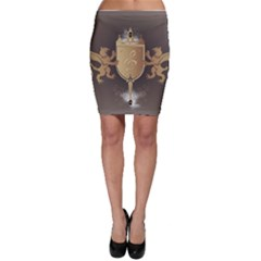 Music, Clef On A Shield With Liions And Water Splash Bodycon Skirts