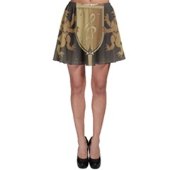 Music, Clef On A Shield With Liions And Water Splash Skater Skirts
