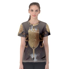 Music, Clef On A Shield With Liions And Water Splash Women s Sport Mesh Tees