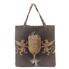 Music, Clef On A Shield With Liions And Water Splash Grocery Tote Bags