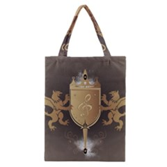 Music, Clef On A Shield With Liions And Water Splash Classic Tote Bags