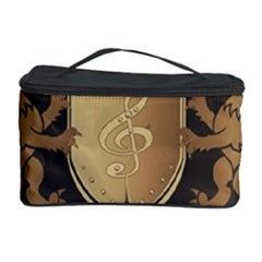 Music, Clef On A Shield With Liions And Water Splash Cosmetic Storage Cases