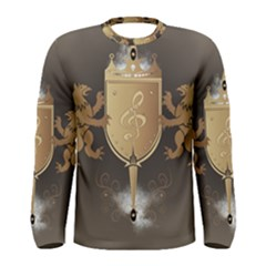 Music, Clef On A Shield With Liions And Water Splash Men s Long Sleeve T Shirts