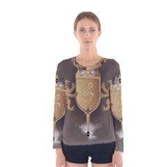 Music, Clef On A Shield With Liions And Water Splash Women s Long Sleeve T-shirts