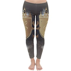 Music, Clef On A Shield With Liions And Water Splash Winter Leggings