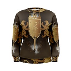 Music, Clef On A Shield With Liions And Water Splash Women s Sweatshirts