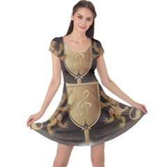 Music, Clef On A Shield With Liions And Water Splash Cap Sleeve Dresses