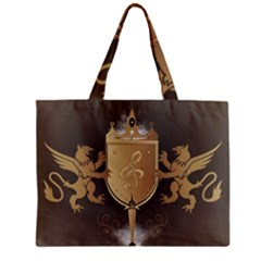 Music, Clef On A Shield With Liions And Water Splash Zipper Tiny Tote Bags