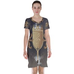 Music, Clef On A Shield With Liions And Water Splash Short Sleeve Nightdresses