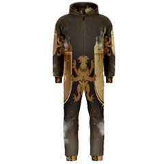 Music, Clef On A Shield With Liions And Water Splash Hooded Jumpsuit (Men)