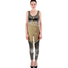 Music, Clef On A Shield With Liions And Water Splash Onepiece Catsuits