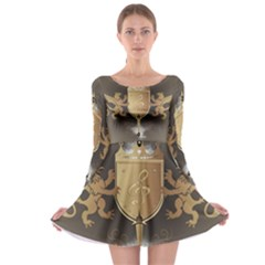 Music, Clef On A Shield With Liions And Water Splash Long Sleeve Skater Dress