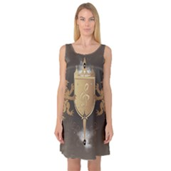 Music, Clef On A Shield With Liions And Water Splash Sleeveless Satin Nightdresses