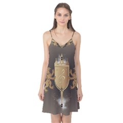 Music, Clef On A Shield With Liions And Water Splash Camis Nightgown