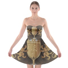 Music, Clef On A Shield With Liions And Water Splash Strapless Bra Top Dress