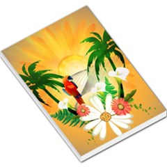 Cute Parrot With Flowers And Palm Large Memo Pads
