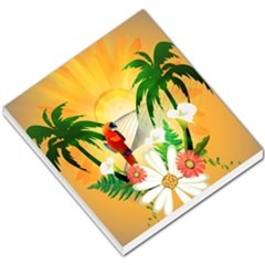 Cute Parrot With Flowers And Palm Small Memo Pads
