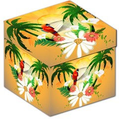 Cute Parrot With Flowers And Palm Storage Stool 12