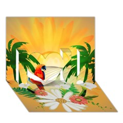 Cute Parrot With Flowers And Palm I Love You 3d Greeting Card (7x5)