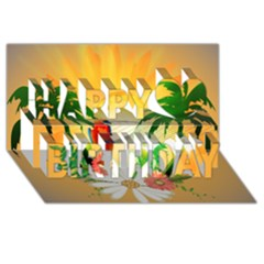 Cute Parrot With Flowers And Palm Happy Birthday 3D Greeting Card (8x4)