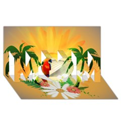 Cute Parrot With Flowers And Palm Mom 3d Greeting Card (8x4)