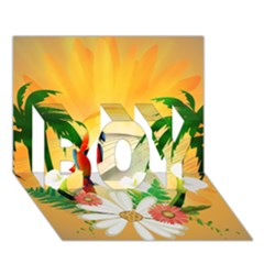 Cute Parrot With Flowers And Palm Boy 3d Greeting Card (7x5)